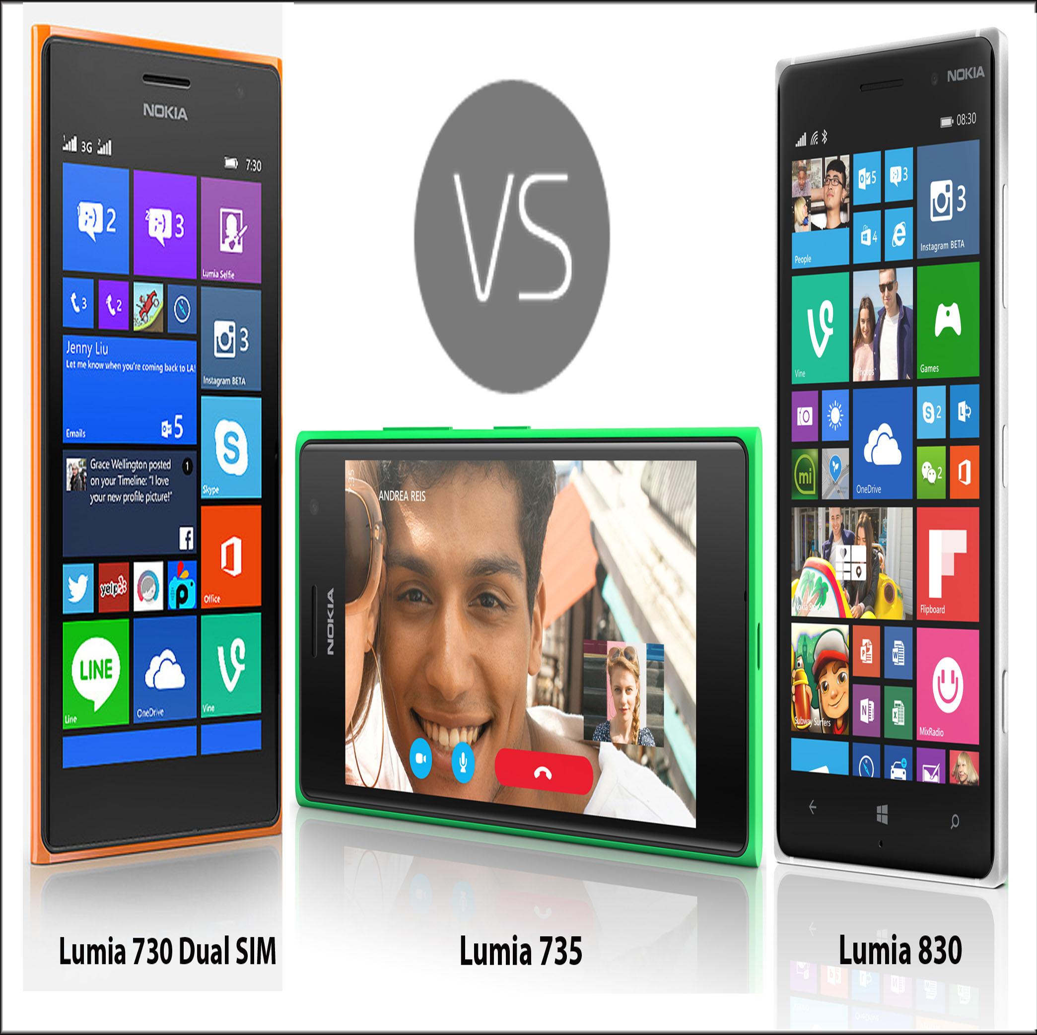 Nokia Lumia 730 vs Lumia 735 vs Lumia 830 Specs, Features ...