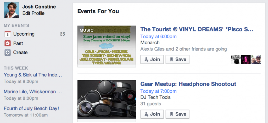 Facebook searches become simpler - get all your events in one place.