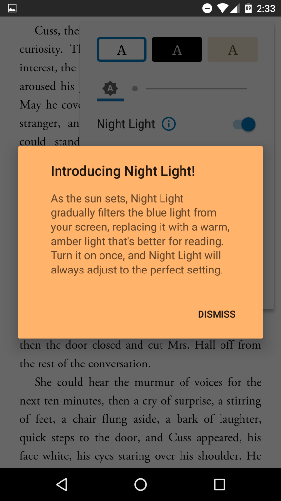 Google play books minimizes the risks of damaging your eyes with night time reading