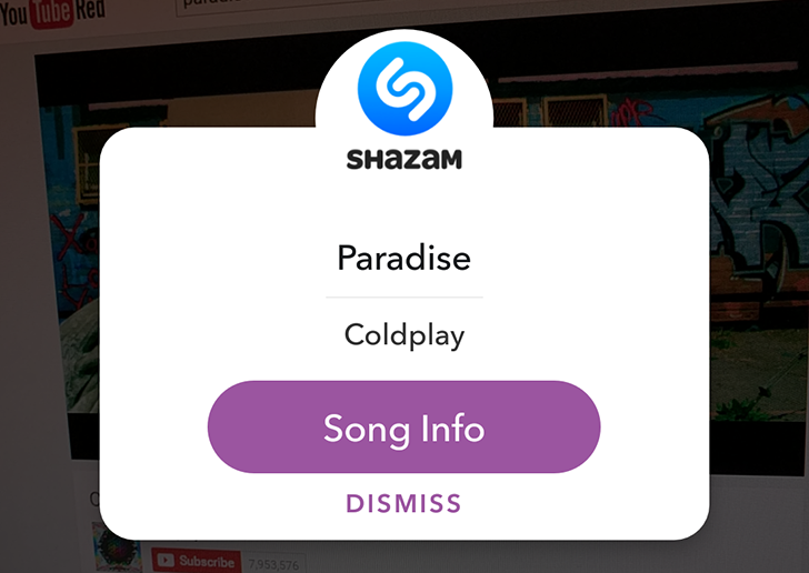 When you use the app on camera view while playing an audio file or song, a Shazam card will appear on the screen. It displays song details, artist, lyrics etc.